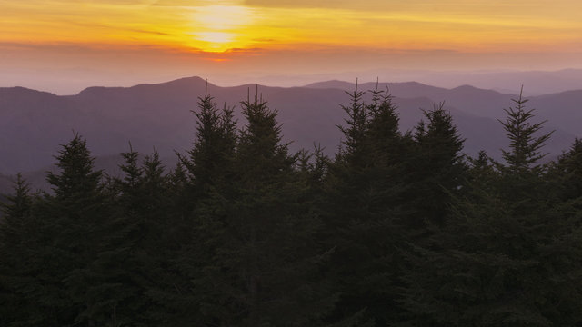 A sunset view from the summit of Mount Mitchell in North Carolina.