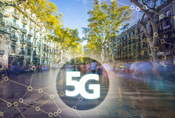 Digital composite of 5G with Crowd of anonymous people walking on the Rambla of Barcelona on the background. 5G world , High speed mobile web technology concept
