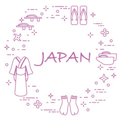 Traditional japanese clothing, shoes and shurikens