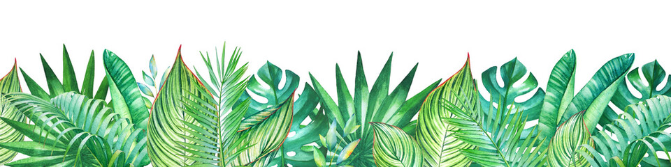 Background with watercolor tropical plants. Useful for design of banners, cards, greetings, invitations and many others.