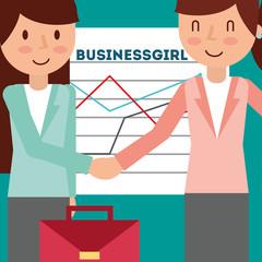 two businesswoman handshake business chart graph briefcase vector illustration