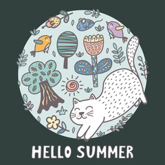 Hello summer print with a cute cat. Funny card. Vector illustration