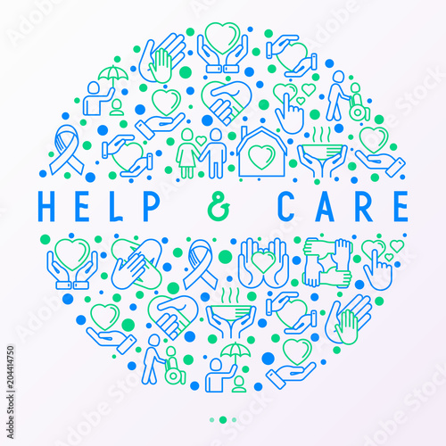 Help And Care Concept In Circle With Thin Line Icons Symbols Of
