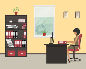 Workplace of an office worker. The young woman is an employee at work. There is a black furniture: a desk, a cabinet for documents, red chair and other objects in the picture. Vector illustration