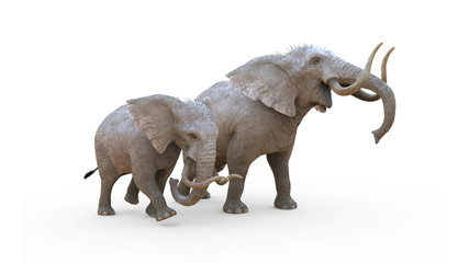 3d Illustration Elephant Isolate on White Background with Clipping Path. Albino Elephant.