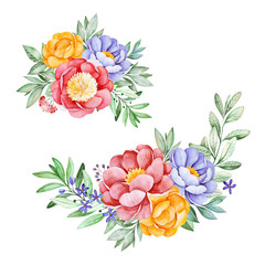 2 Lovely bouquets with peony,rose,leaves,flowers,branches and berries.Watercolor bouquets for your design.Perfect for wedding,invitations,blogs,template card,Birthday,baby cards,greeting,logos etc.