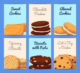 Vector card or flyer templates set with cartoon cookies