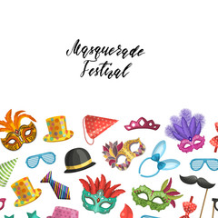 Vector background with masks and party accessories