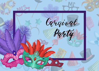 Vector carnival masks in frame with party accessories background