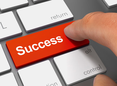 success pushing keyboard with finger 3d illustration
