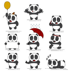 Cute funny pandas vector cartoon character. Set of exotic bears icons isolated on white background.