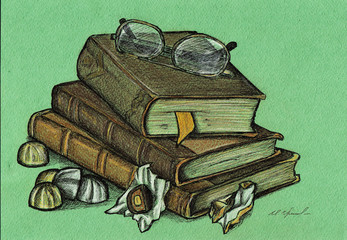 Still Life with sweets and old books