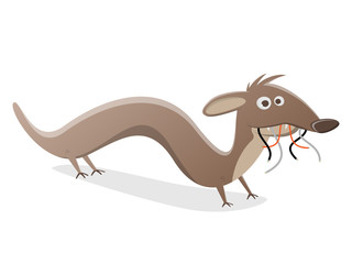 funny cartoon marten with electric wire in its mouth