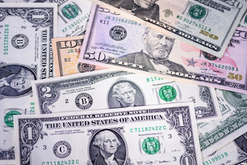 Money background, assorted American dollar banknotes, bills. Business concept.