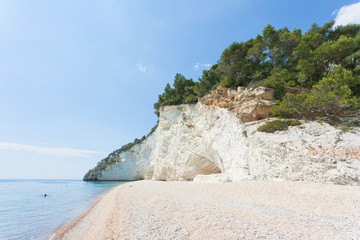 Vignanotica, Apulia - Swimming at the shingle beach of Vignanotica