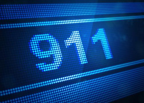 911 digital screen 3d illustration