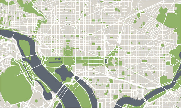 vector map of the city of Washington D.C., USA