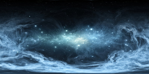 Wall Mural - 360 degree space nebula panorama, equirectangular projection, environment map. HDRI spherical panorama. Space background with nebula and stars.