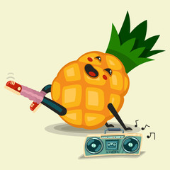 Cute Pineapple cartoon character doing fitness exercise and listening boombox stereo cassette recorder. Healthy eating and sport. Flat retro style illustration concept.