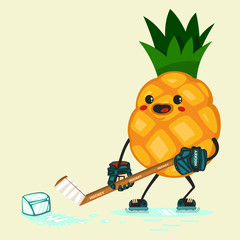 Cute Pineapple cartoon characters to play hockey with a piece of ice. Eating healthy and fitness. Flat retro style illustration concept.