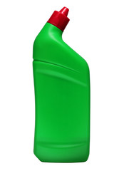 cleaner in green bottle with red cap