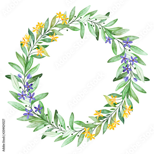 Wteath With Small FlowersbranchleavesfoliagefernLaurel WreathPerfect For WeddingquotesBirthday And Invitation Cardsgreeting Cardsprintbridal