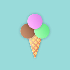 Vector illustration, ice cream cone with a brown, green and pink ball in the horn in papercut style with transparent shadows isolated on blue background
