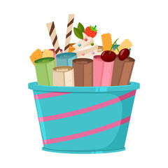 Thailand ice cream roll with waffle, cookie, cherry, strawberry and lolly candy. Vector cartoon flat icon or logo isolated on a white background.