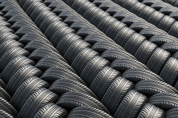 Background from automobile tires, 3D rendering