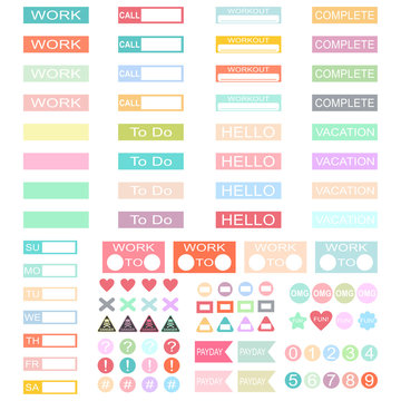 Design work planner stickers headers. Vector set of label template for schedule, organiser and calendars isolated on white background.