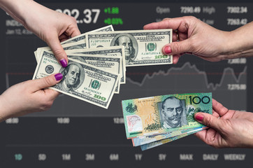Money exchange conception on business graph background