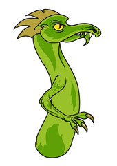 A green cartoon dragon in a side view. Vector illustration