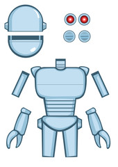 Disassembly of a cartoon robor, ready to compose different poses. Vector Illustration