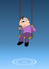 A man in a swing over a quiet pool of water. Vector illustration