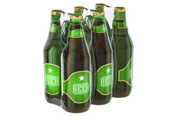 Package of glass beer bottles in shrink film, 3D rendering