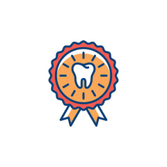 Dental Certificate icon. Dental care, award icon, Colorful thin line art symbol, Vector illustration