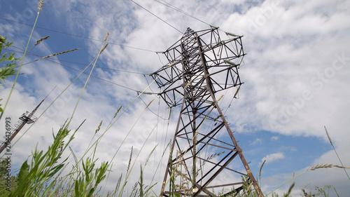 High voltage post High-voltage tower sky background  High
