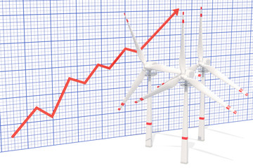 Wind turbines with growing chart. 3D rendering