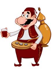 cartoon Ramadan traditional man and drinking