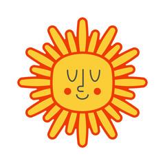 Cheerful sun happy isolated. Summer Vector illustration