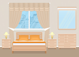 Bedroom interior design with bed, bedside tables, chest of drawers and mirror. Domestic room design in light beige colors.