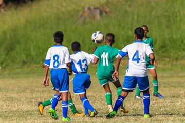 Football Soccer Junior Players Ball Action