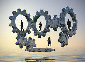 Executives that are walking inside gears at sea at dawn demonstrate the power of cooperation and synergy as 3d rendering.