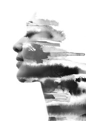 Paintography. Double Exposure portrait of a seductive ethnic woman's profile combined with hand...