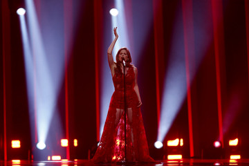 "Latvia's Laura Rizzotto performs ""Funny Girl"" during the Semi-Final 2 for Eurovision Song Contest 2018 in Lisbon"