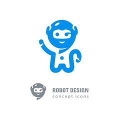 Robot logo, Astronaut-robot waving his hand. Computer technologies, robotics logotype, Modern chat app icon. Vector flat illustration