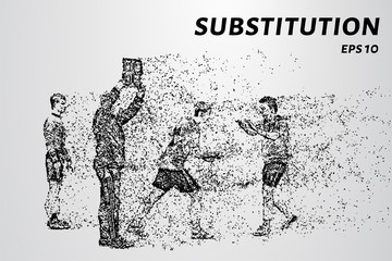 The substitution of a player by the wind tearing of the particles. Substitution consists of circles and dots.