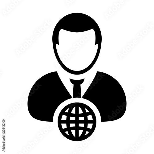 Business Icon Vector Male Person Profile Avatar With Globe Symbol
