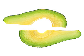 Two avocado slices on a white background