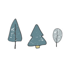 tree clip art drawing shabby style color blue green texture forest element wood simple doodle illustration on white background